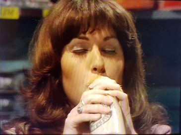 The android Sarah Jane Smith drinks ginger pop