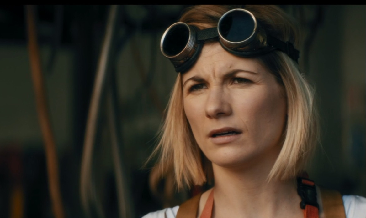 The Doctor (Jodie Whittaker) wearing goggles in Spyfall Part One.