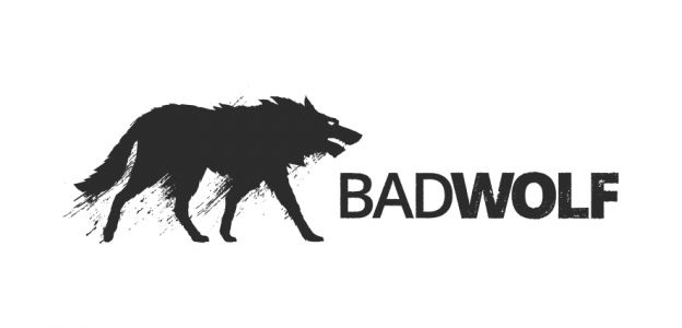 The logo of Bad Wolf, depicting a stylised wolf facing right towards the capital letters 'BADWOLF', WOLF being in bold type.